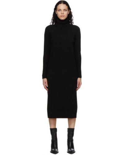 Кашемировое черное платье макси с воротником с длинными рукавами Haider Ackermann