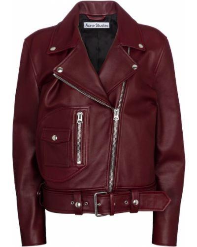 Красная кожаная куртка байкерская Acne Studios