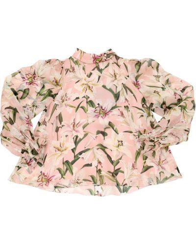 Różowa koszula bawełniana z printem Dolce And Gabbana