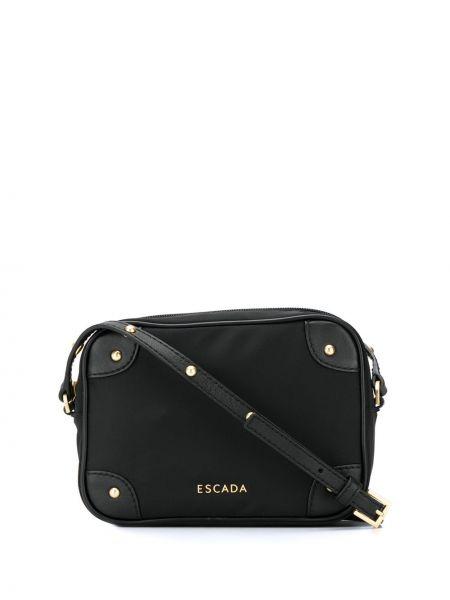Czarna torba sportowa skórzana z niskim stanem Escada Sport