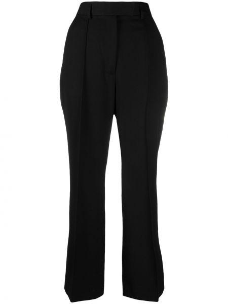 Шерстяные черные с завышенной талией укороченные брюки Acne Studios