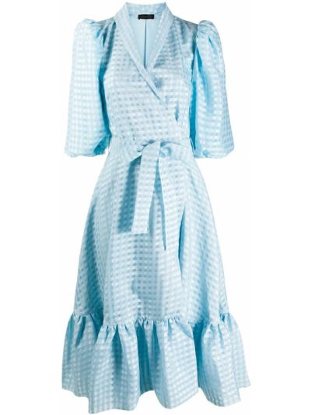 Синее платье мини с запахом с V-образным вырезом с короткими рукавами Stine Goya