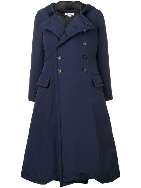 Синее пальто с капюшоном двубортное Comme Des Garçons Comme Des Garçons