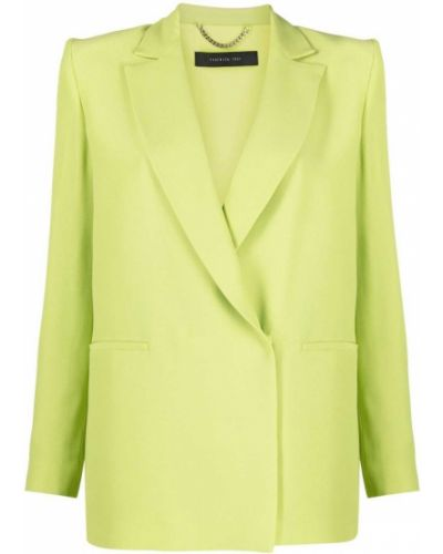 Зеленый однобортный удлиненный пиджак из вискозы Federica Tosi