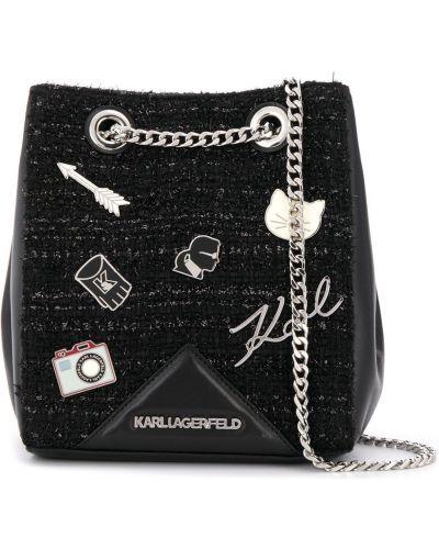 Кожаная сумка на цепочке сумка-мешок Karl Lagerfeld