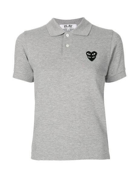 Bawełna prosto koszula z krótkim rękawem z kołnierzem z łatami Comme Des Garcons Play