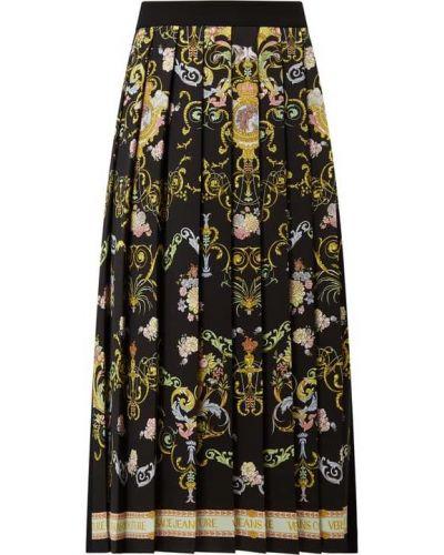 Czarna spódnica midi rozkloszowana Versace Jeans Couture