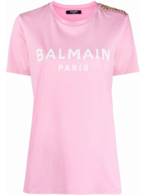 Розовая футболка с логотипом Balmain