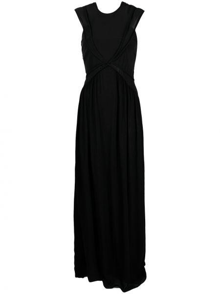 Черное платье макси без рукавов с вырезом Just Cavalli