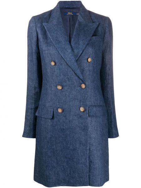 Синее пальто двубортное с карманами Polo Ralph Lauren