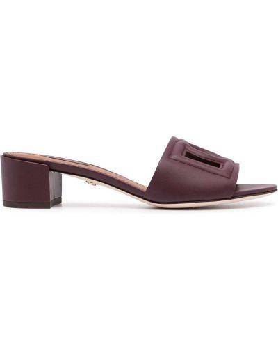 Открытые фиолетовые кожаные сандалии Dolce & Gabbana