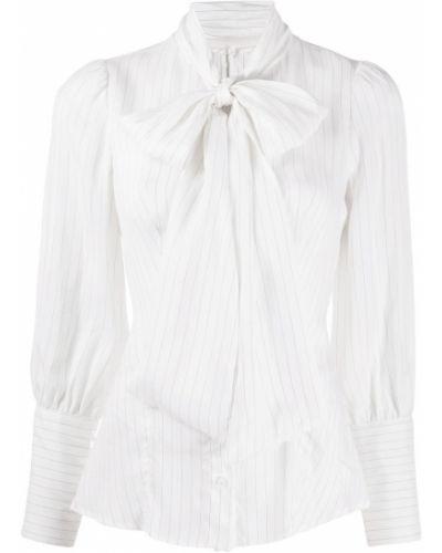Шелковая с рукавами белая блузка Dondup