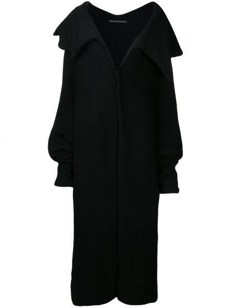 Шерстяное черное пальто винтажное Yohji Yamamoto Pre-owned
