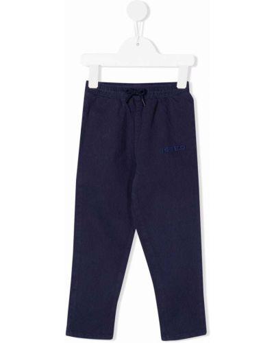 Niebieskie spodnie z haftem Kenzo Kids