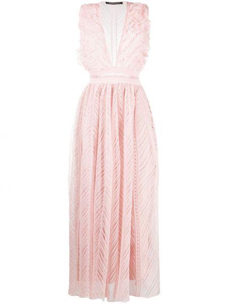 Платье макси розовое с V-образным вырезом Antonino Valenti