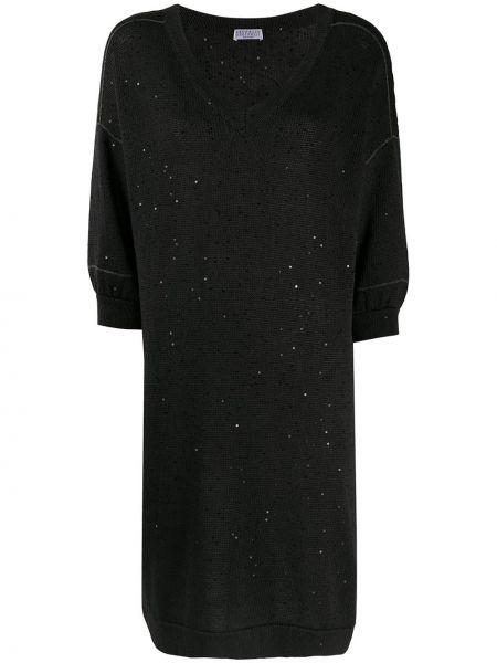Трикотажное вязаное платье с пайетками Brunello Cucinelli