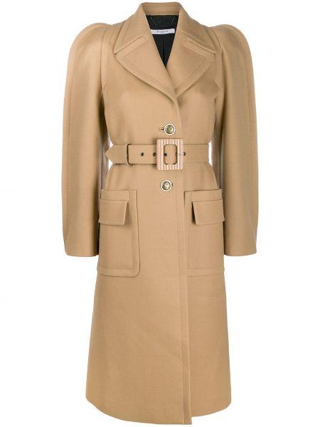Коричневое шерстяное пальто с капюшоном Givenchy