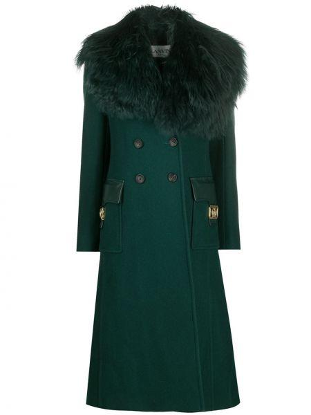 Зеленое кожаное длинное пальто двубортное Lanvin