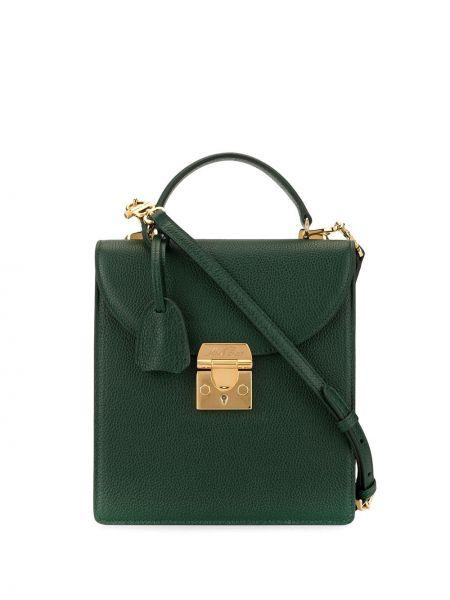 Кожаная золотистая зеленая сумка через плечо с перьями Mark Cross