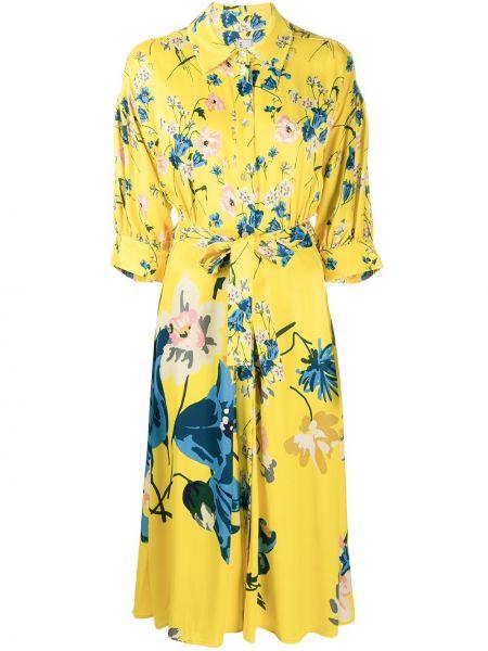 Żółta sukienka mini rozkloszowana krótki rękaw Antonio Marras