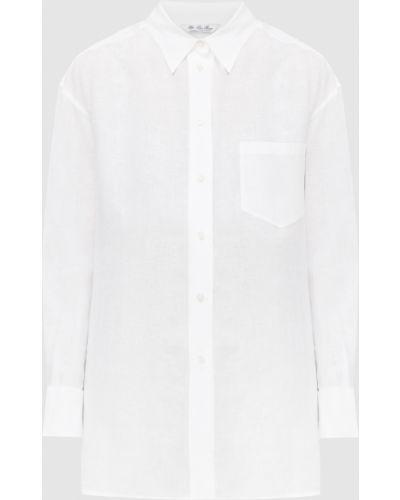 Льняная белая рубашка Loro Piana