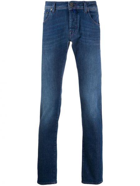 Хлопковые синие джинсы-скинни на молнии Jacob Cohen