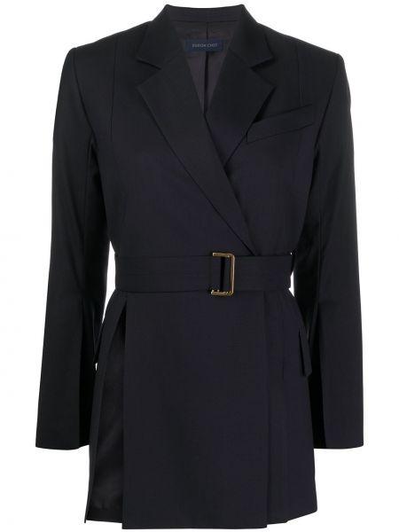 Классическая синяя куртка с поясом с лацканами Eudon Choi
