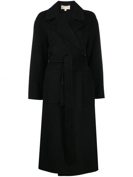 Шерстяное черное длинное пальто свободного кроя Michael Michael Kors