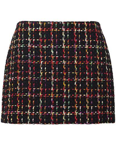 Czarna spódnica mini z cekinami wełniana Alice + Olivia