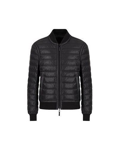 Черная кожаная куртка двусторонняя Emporio Armani