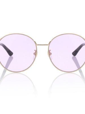 Муслиновые малиновые солнцезащитные очки круглые Gucci