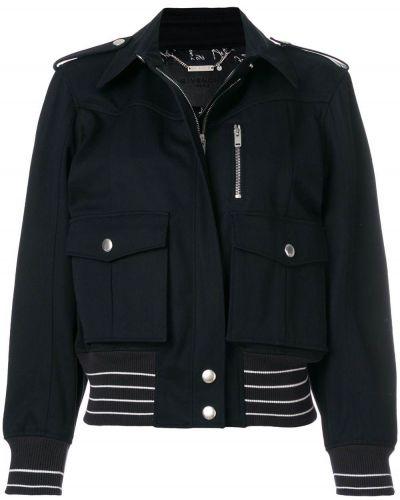 Niebieska długa kurtka skórzana miejska Givenchy