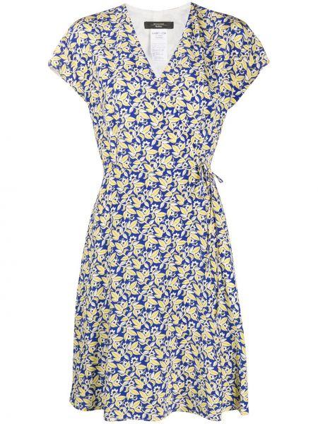Синее шелковое платье мини на молнии с короткими рукавами Weekend Max Mara