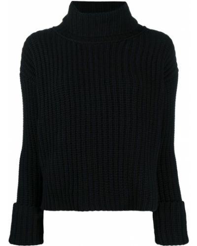 Шерстяной черный джемпер с манжетами Odeeh