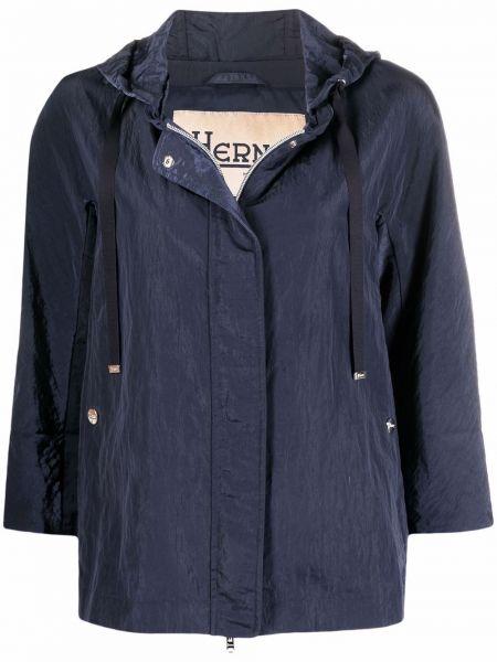 Синяя облегченная куртка с капюшоном Herno