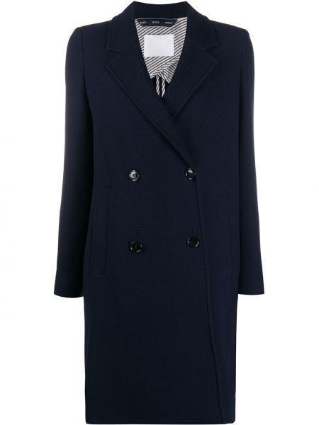 Синее длинное пальто двубортное на пуговицах Boss Hugo Boss