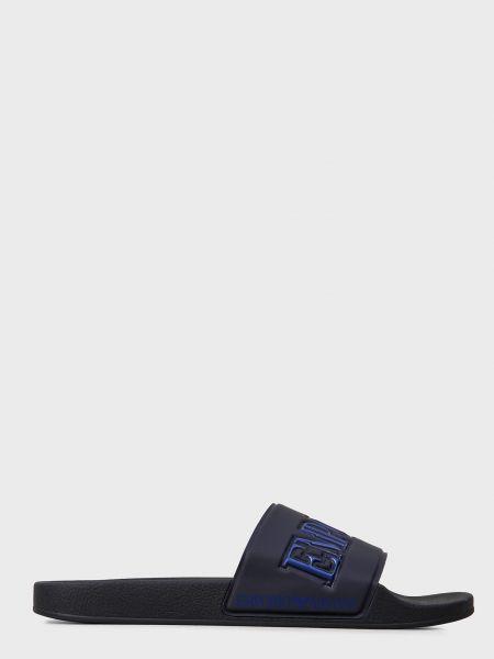 Синие силиконовые шлепанцы Emporio Armani