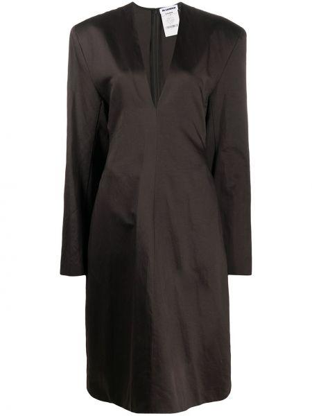 Коричневое прямое платье с V-образным вырезом на молнии Jil Sander Pre-owned