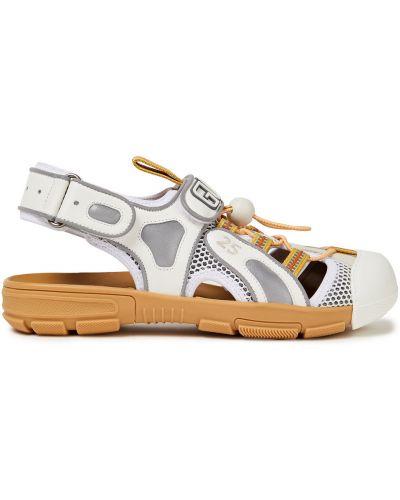 Białe sandały skorzane na rzepy Gucci