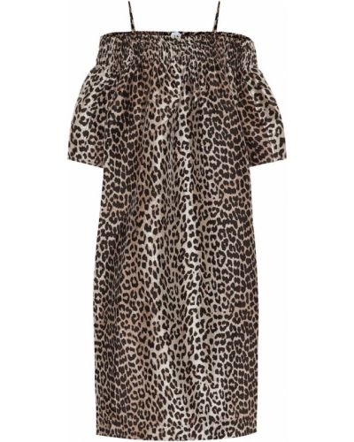 Brązowa sukienka z printem Ganni