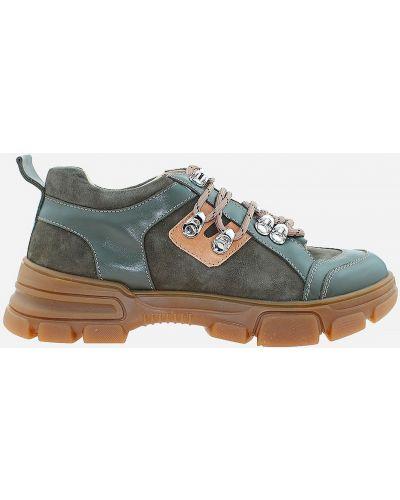 Кожаные ботинки - зеленые Carvallio