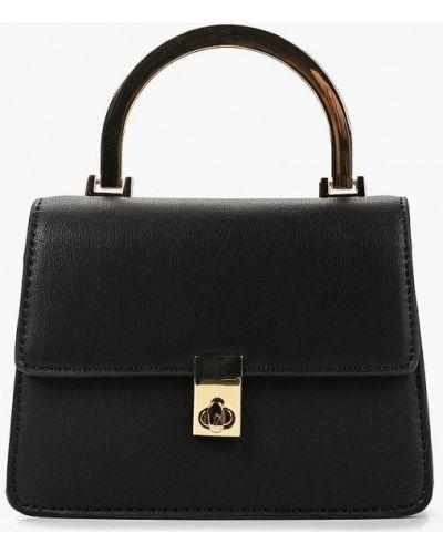 Кожаный сумка через плечо черная Topshop