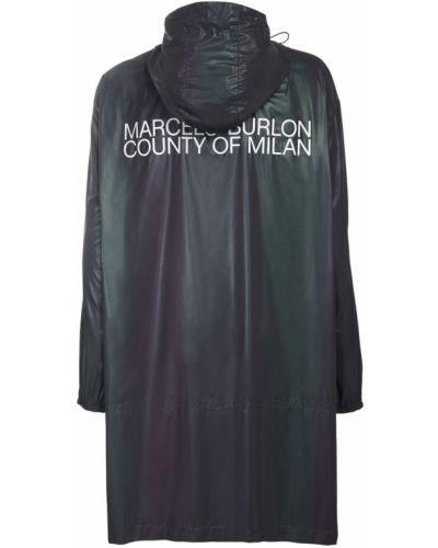 Czarny płaszcz przeciwdeszczowy Marcelo Burlon County Of Milan