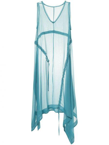 Шелковое синее платье миди прозрачное Taylor