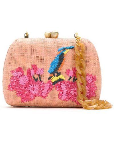 С ремешком розовая сумка на плечо с вышивкой на бретелях Serpui
