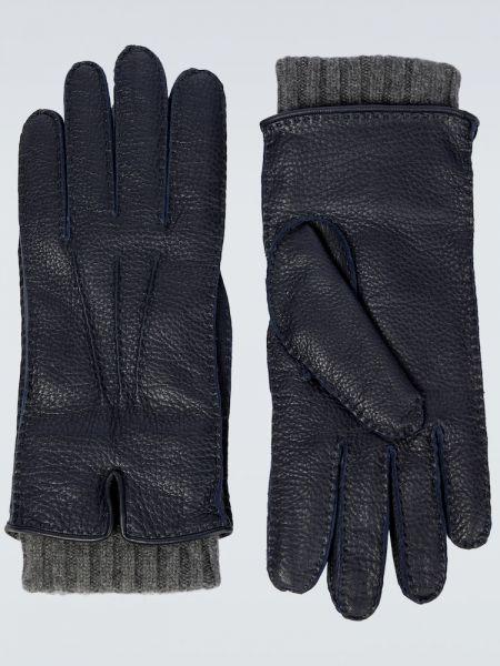 Z kaszmiru rękawiczki - niebieskie Loro Piana