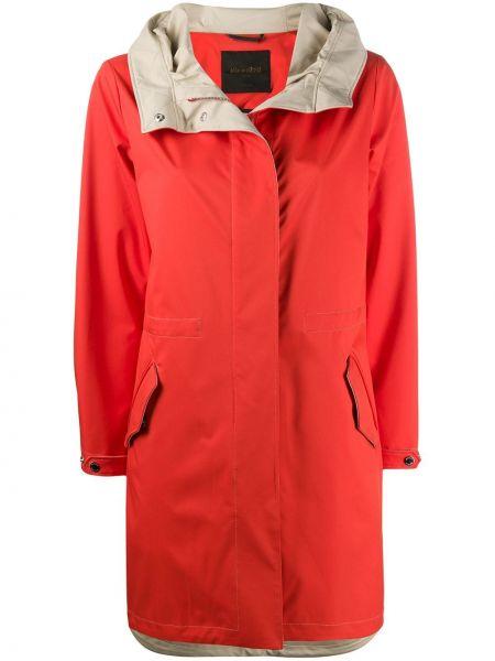 С рукавами пальто с капюшоном айвори на пуговицах с карманами Moorer