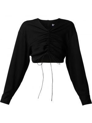 Черная длинная рубашка с завязками с оборками Christopher Esber