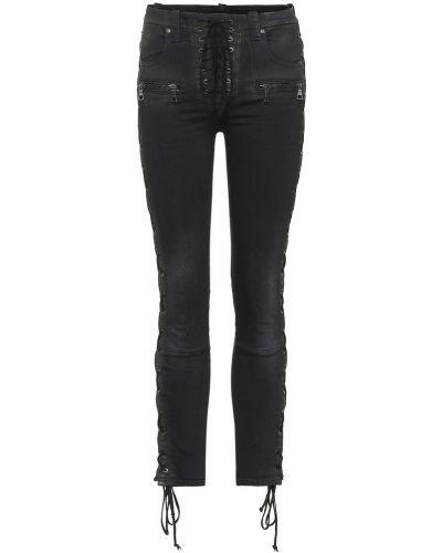 Czarny koronkowa bawełna zawężony obcisłe dżinsy Unravel