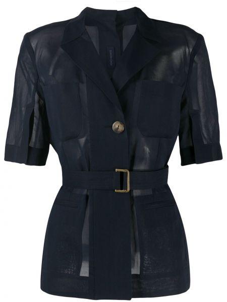 Синий короткая куртка с короткими рукавами с карманами Eudon Choi